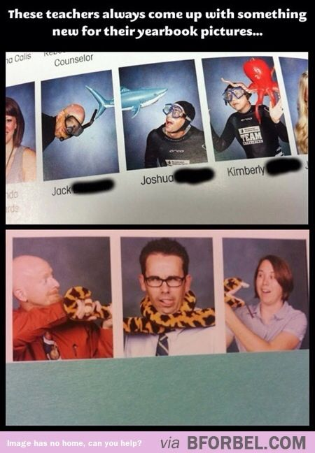 When teachers get creative with their yearbook pictures…