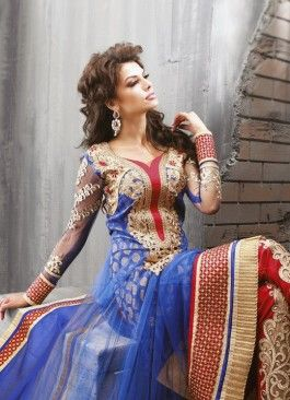 Rapturous Embroidered and Patch Border Net Blue and Red Anarkali Suit