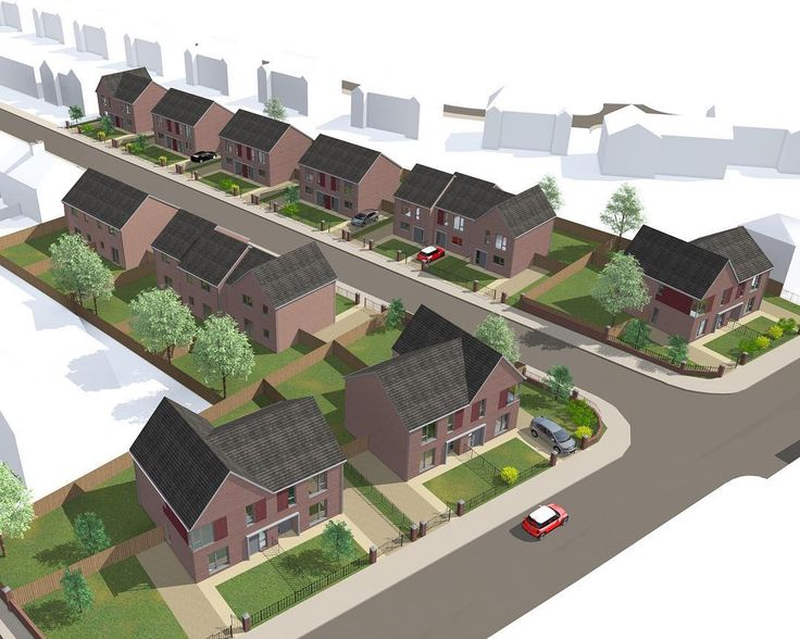 Beechfarm, Poets Estate - JMA. Residential scheme in Swinton. Red brick, burgandy feature panels, feature roofs turn the corner