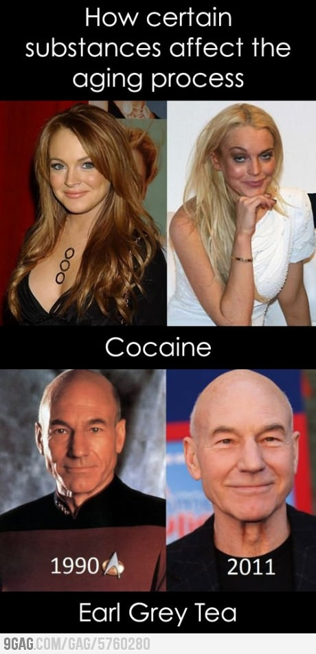 Wowie...I'm hoping to look as good as Patrick Stewart one day!  Earl Grey must be a little fountain of youth...I'll take another cup please!
