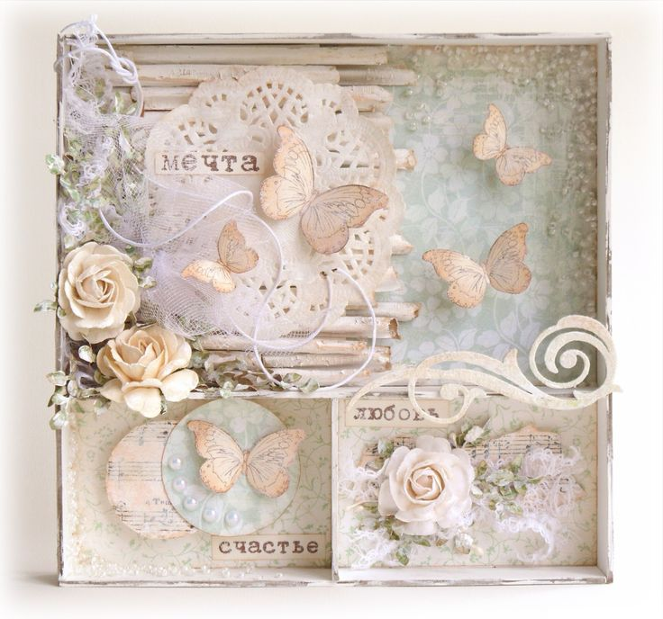 Beautiful shabby chic shadow box.