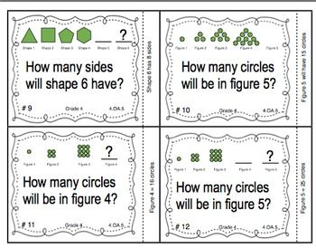 Common Core Math Task Cards - Identifying Patterns and Rules CCSS 4.OA.5 $