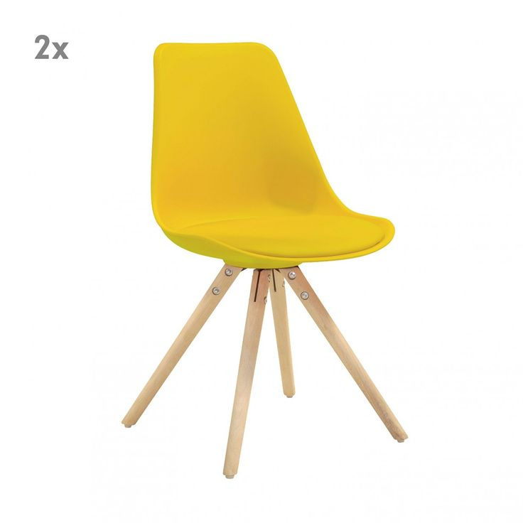 Wandfarbe Goldocker: 2er-Set Woody Stühle - Gelb