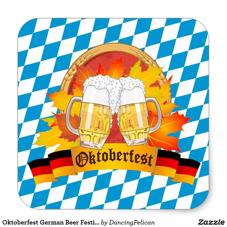 Oktoberfest German Beer Festival Square Sticker - Celebrate Oktoberfest, the famous annual beer festival in Munich, Germany. This colorful design features a pair of beer mugs and a banner with the German flag colors over a background of the Bavarian flag. Sold at DancingPelican on Zazzle.