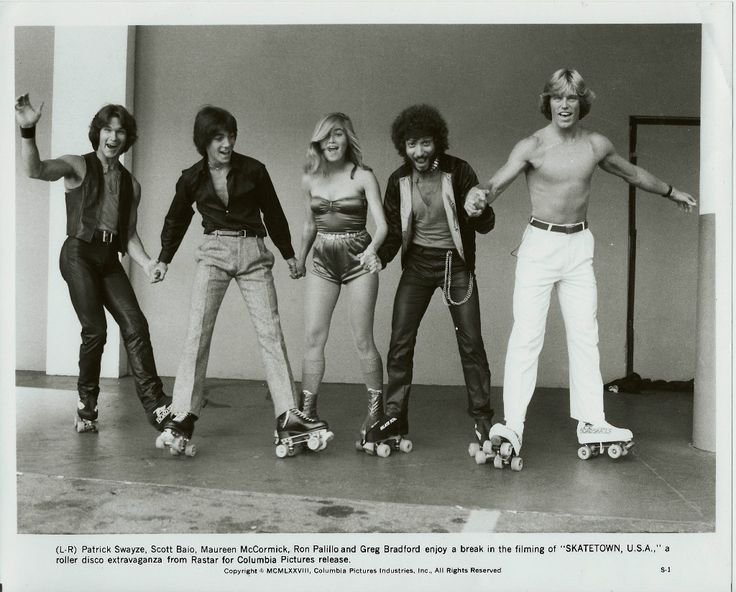 """Skatetown U.S.A."" promo pic - Patrick Swayze Scott Baio Maureen McCormick Ron Palillo and Greg Bradford -1978"