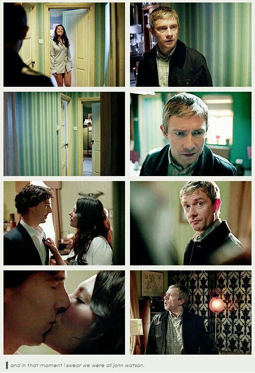Honestly seeing Sherlock kiss Janine I felt like John in the last picture ... then I nearly screamed THATS NOT JOHN DO THESE THINGS WITH JOHN