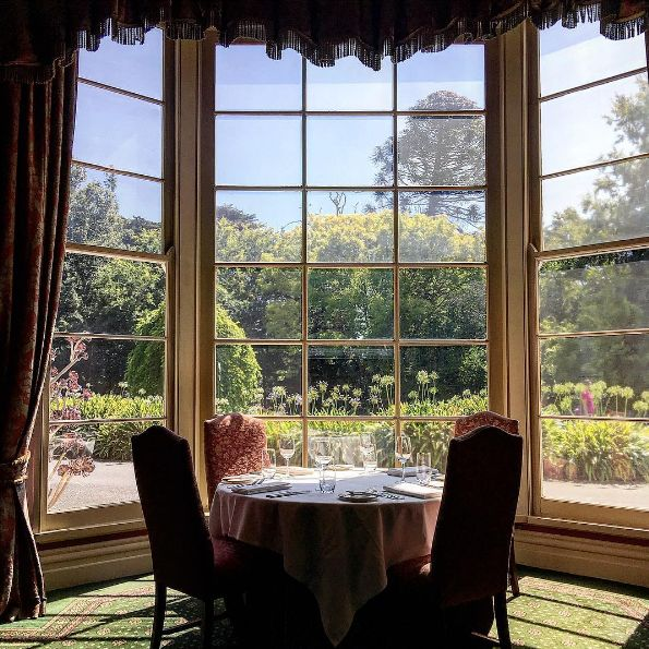 Enjoy the beautifully manicured gardens from Eleonore's Restaurant