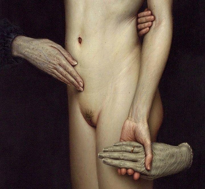 Dino Valls, Barathrum, (detail), 2003. The hands.