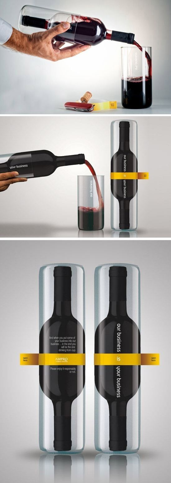 The wine company is called Ampro and the idea behind this packaging is that it doubles as a glass. People may think that it well have less quantity because of the look but it is just simply the innovative design. The concept would be best suited for somebody who intend guilt-fully drink the whole bottle.