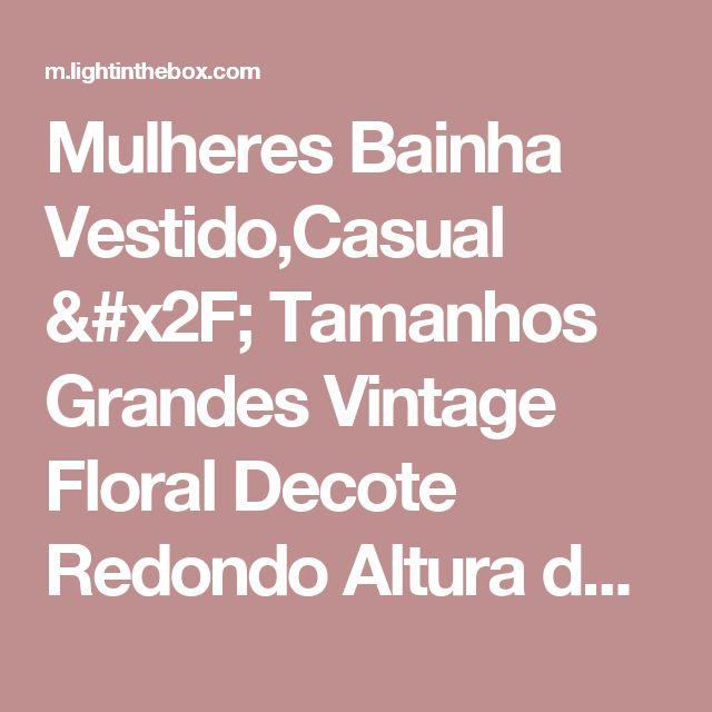 Mulheres Bainha Vestido,Casual / Tamanhos Grandes Vintage Floral Decote Redondo Altura dos Joelhos Sem Manga Rosa / Vermelho / Amarelo de 2017 por R$64.19
