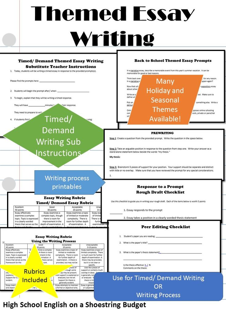Themed Essay Writing in a variety of holiday and seasonal topics. Includes materials for timed/ demand writing, including substitute teacher instructions. Also includes writing process printables. Rubrics included. Great for filler, substitute teachers, and regular writing! Each themed prompt includes an equal number of narrative, expository, and persuasive essay topics (min. 1 each.) $