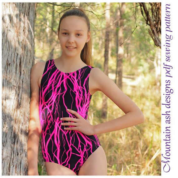 Sew your own gymnastics leotards for ladies and teens with this pdf sewing pattern. Two styles of leotard are included in this sewing pattern. You