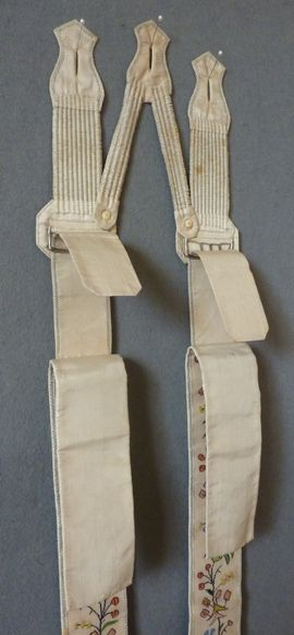 Pair of Braces 1830's These are quite beautifully made, both embroidered and plain stitching. It is unusual to find the attachment on braces.