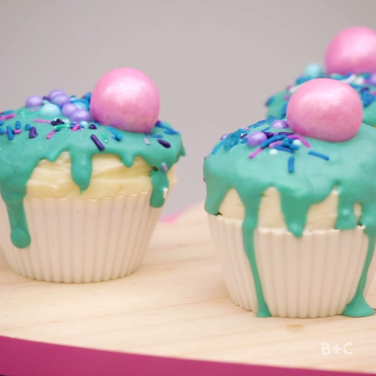 Watch this creative video tutorial recipe to learn how to make and decorate a batch of Drip Cupcakes.