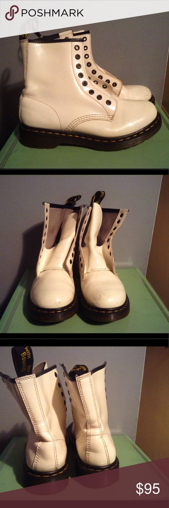 Dr. Martens White Patent Leather Moto Combat Boots Shoe is in great condition despite a few scuff marks in the front .  Will def work with almost any wardrobe. From pet and smoke free home . Dr. Martens Shoes Combat & Moto Boots