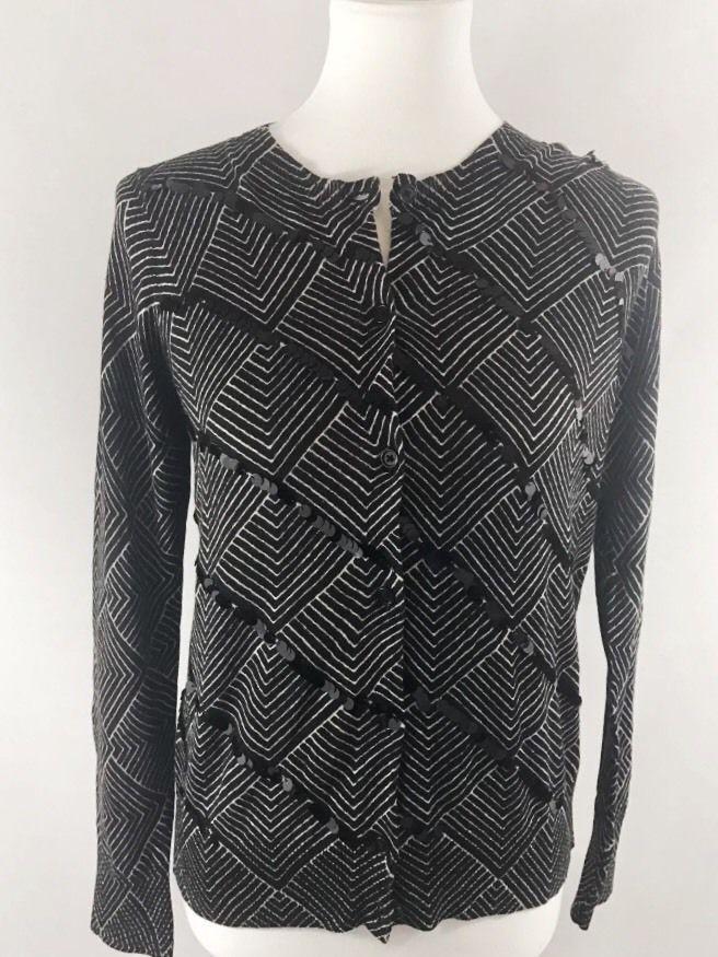ANN TAYLOR LOFT Black Geometric Print Sequin Cardigan Medium #AnnTaylorLOFT #Cardigan #Work #Weartowork #ebayfashion #shop #career #sequin