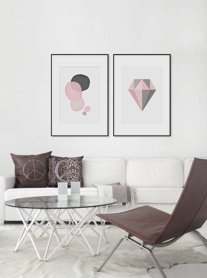Poster with diamond, framed art, pink and grey. www.desenio.se