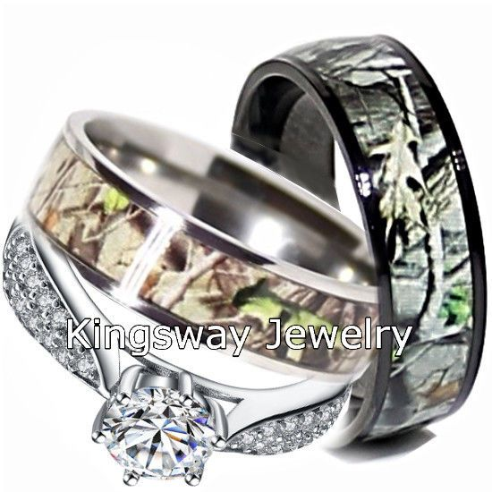 His and Hers 3pc Titanium Camo 925 STERLING SILVER Engagement Wedding Rings Set #UniqueJewelry #SolitairewithAccents