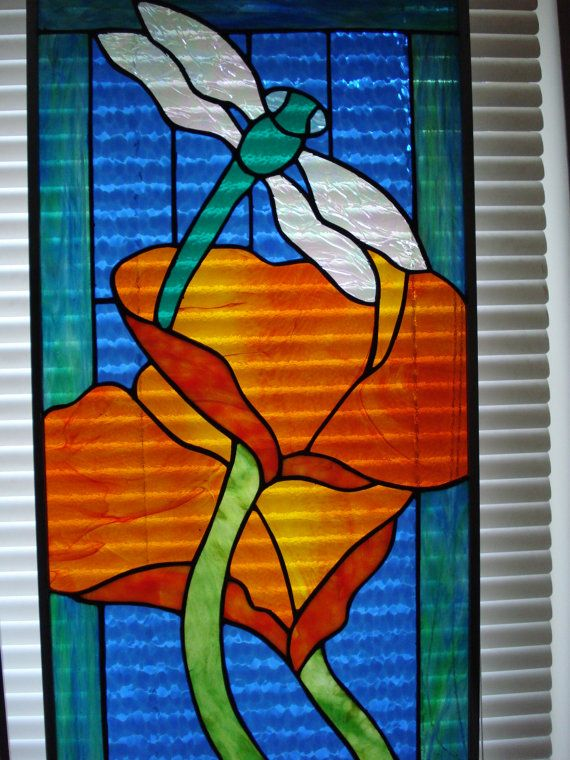 Stained Glass Panel with Dragonfly and Poppies