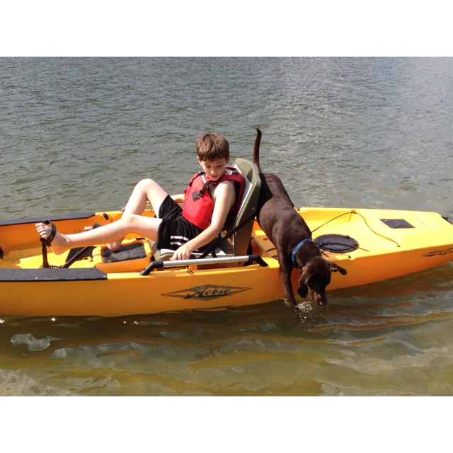 Christian takes Jake for his first kayak ride.: Kayak Ride, Christian Takes, Takes Jake, Purple Wall