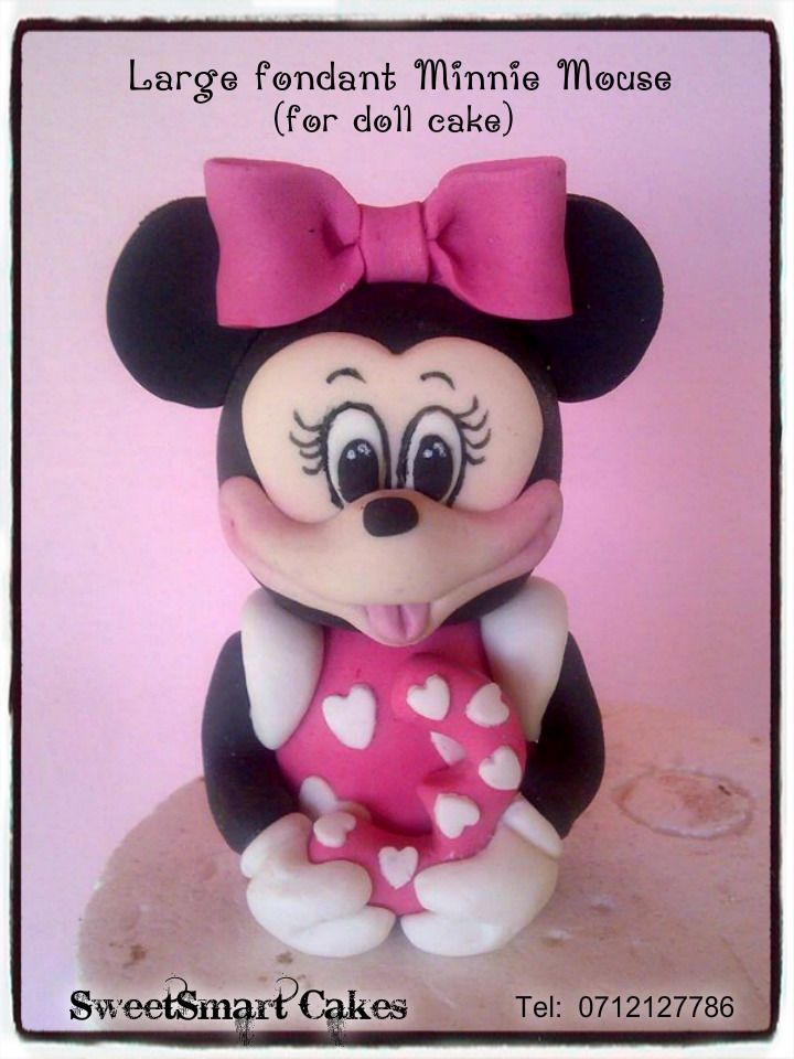 Large Minnie Mouse cake topper.  (Perfect size for doll cake) For info & orders email sweetartbfn@gmail.com