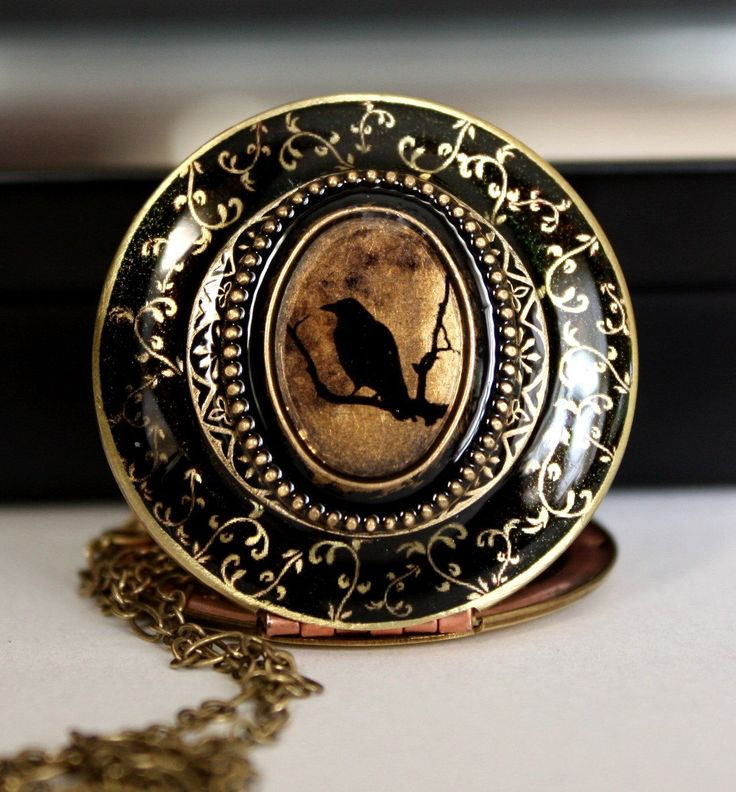 The Raven Halloween Jewelry Edgar Allan Poe Inspired Design Halloween Necklace Halloween Costume Jewelry Black Bird Locket Gothic Necklace by LilybelleGrace on Etsy https://www.etsy.com/listing/163255339/the-raven-halloween-jewelry-edgar-allan