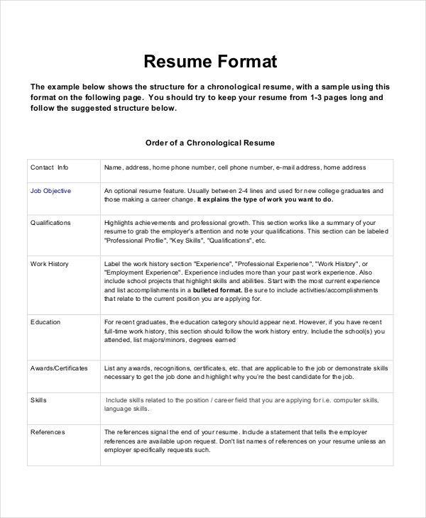 Resume Format Qualifications Resume Format