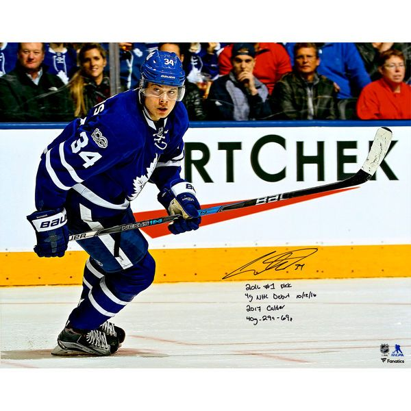 """Auston Matthews Toronto Maple Leafs Fanatics Authentic Autographed 16"""" x 20"""" Blue Jersey Skating Photograph with Multiple Inscriptions - Limited Edition of 34 - $499.99"""