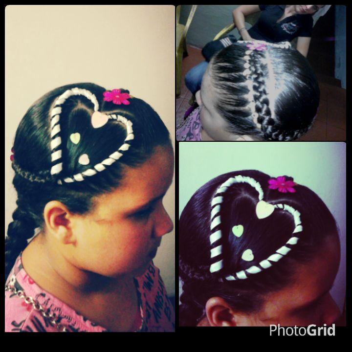 peinado de corazon con cinta para niñas
