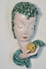 GOLDSCHEIDER WIEN VIENNA 1930s ART DECO WALL MASK HEAD, LADY WITH APPLE, No6774