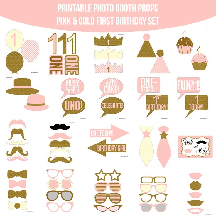 25 unique printable photo booth props ideas on pinterest photo instant download first birthday pink gold glitter printable photo booth prop set pronofoot35fo Images