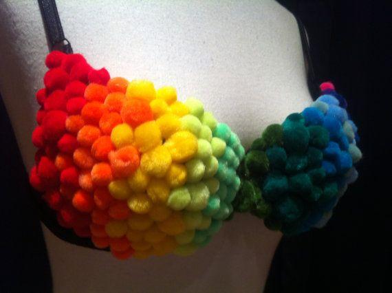 Rainbow Pom-Pom Bra