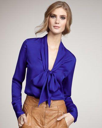 My Natalie Tie-Neck Blouse, Dark Blue by Rachel Zoe at Bergdorf Goodman.