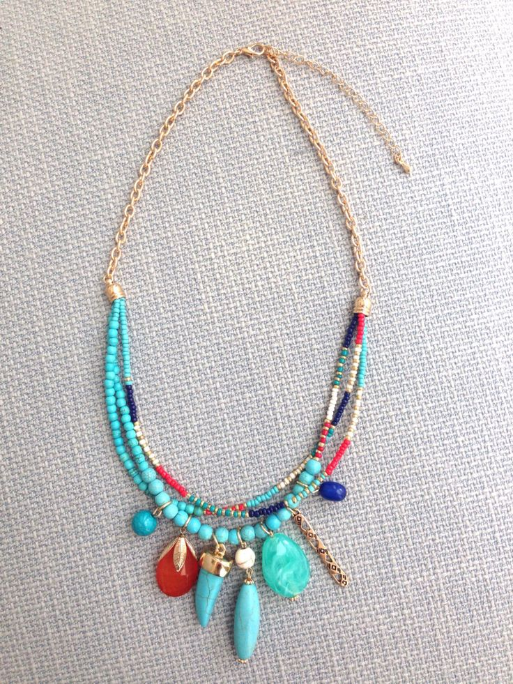 Seed Bead Pendant Necklace Boho Bohemian Statement by MaiKiwi - 20inches long plus 3 inches extender