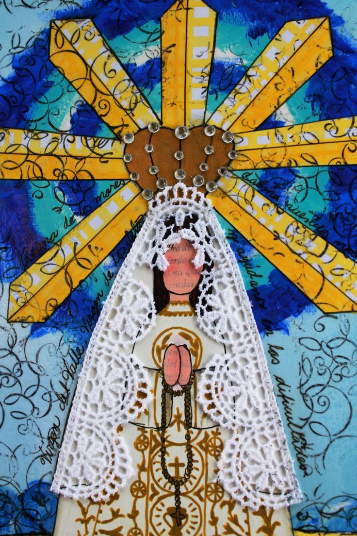 """Our Lady of the Valley, Virgen del Valle - Mixed Media original art (8""""x10"""") by Lilisweethearts on Etsy"""