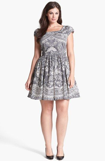 ABS by Allen Schwartz Lace Print Fit & Flare Dress (Plus Size) available at #Nordstrom