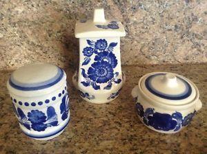 Vintage-1970-Wloclawek-Faience-Polish-Pottery-Cannisters-Set-Of-3