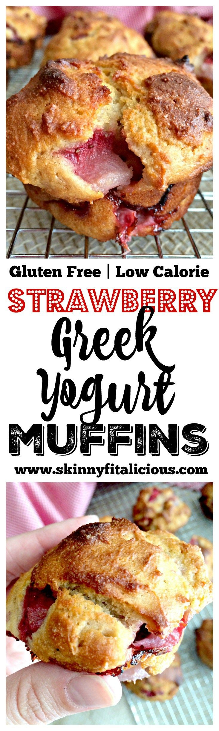 Bursting with strawberries and creamy greek yogurt, these Strawberry Greek Yogurt Muffins make a delicious low fat snack for just 95 calories. Gluten Free + Low Calorie