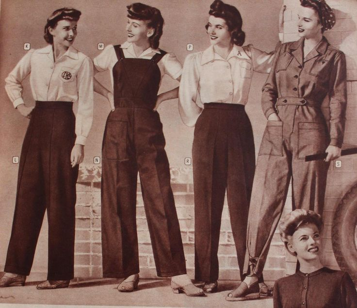 1940's Pant Styles; History & Buying Guide. Included Wide leg trousers, Slacks, Dungarees, Overalls, Pinafore Pants, Coveralls & Denim Jeans. by vintagedancer.com