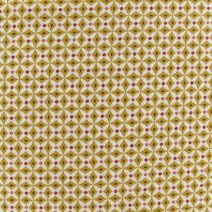 Tissu coton motif graphique moutarde x 10cm