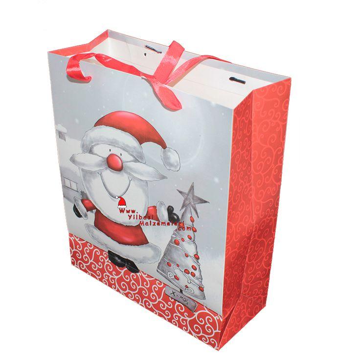 Küçük Boy Noel Baba Temalı Karton Yeni Yıl Çantası | Yılbaşı Kutu ve Çantaları | Pandoli | Parti Malzemeleri ve Doğum Günü Süsleri Partidolu.com