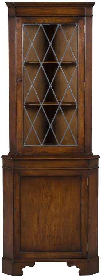 Oak Corner Cabinet with leaded glass door. Stunning condition vintage corner hutch.