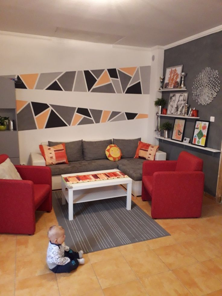Living room nappali egyedi falfestés mozaik fal red grey orange