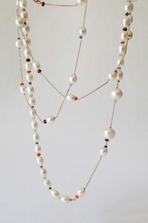 Multi stone - Pearls - 18k gold