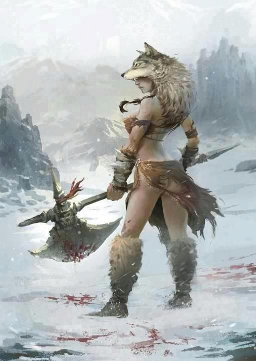 """Ancient Celtic/Gaul Warrioress that is probably more accurate than the slutty non functioning armor of supposed """"fantasy"""" women ad nauseam. Artist unknown, if anyone finds out please let me know ASAP!"""