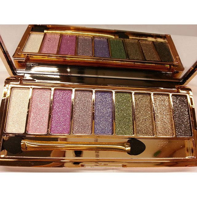 Women 9 Colors Waterproof Eyeshadow Makeup Glitter Eyeshadow Palette with Brush 31