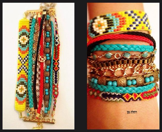 Bracelet hippie style -multi color  - hand made -original and one of a kind. closing: gold plated chain. on Etsy, 320.00 ₪