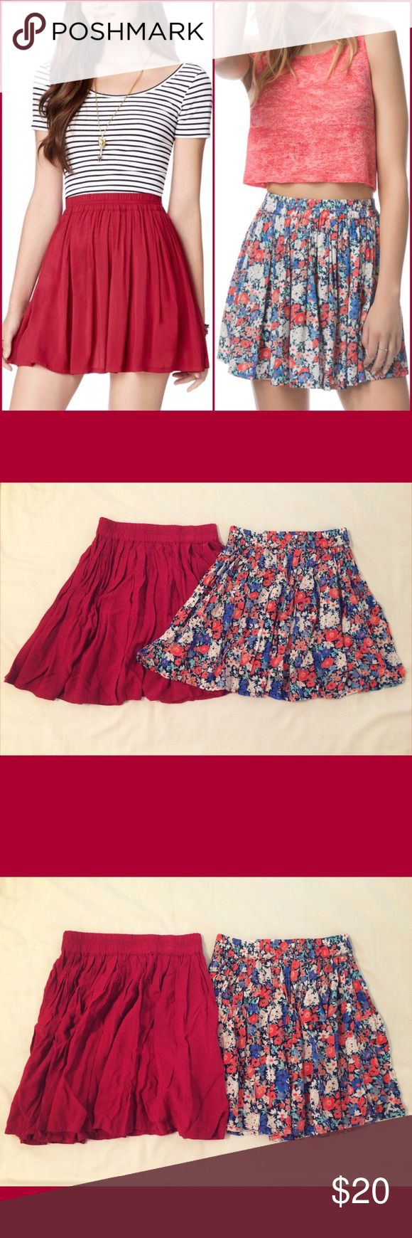 Two Aeropostale Mini Skirts Two Aeropostale Mini Skirts One Lorimer NYC solid dark red skirt One floral with orange, blue, and white colors Both are size extra small and 100% rayon  Perfect for spring and summer! Aeropostale Skirts Mini