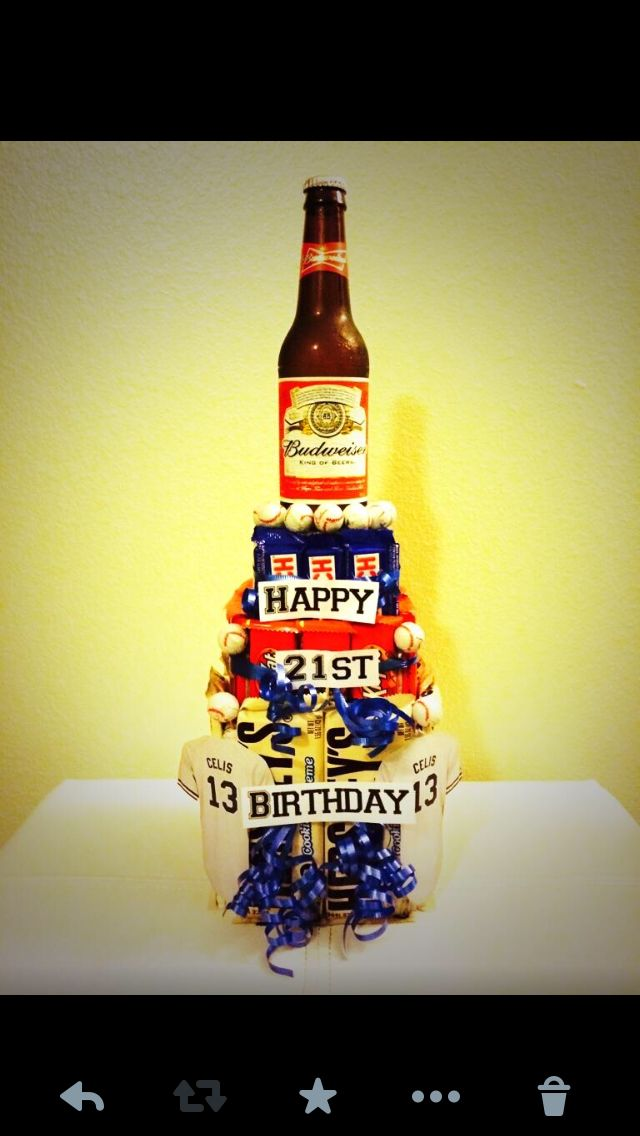 My DIY candy cake topped with a bottled beer that I made for my boyfriend for his 21st!  I absolutely enjoyed making this! I used foam for the centers & hot glued the chocolate onto them. Formed a circle hole on the top & placed the bottle on top.