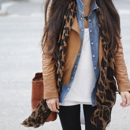 black pants, denim shirt, leather jacket, layers, leopard print scarf, casual outfit